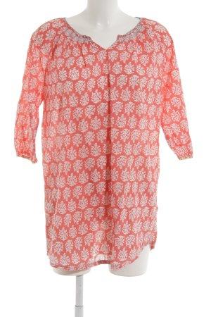 johnnieb Tunique-blouse rouge fluo-blanc motif floral Look de plage