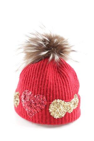Johnstons cashmere Sombrero de punto rojo look casual