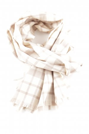 Johnstons of Elgin Fringed Scarf natural white-brown check pattern