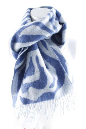 Johnstons Écharpe en laine gris clair-bleu acier motif abstrait