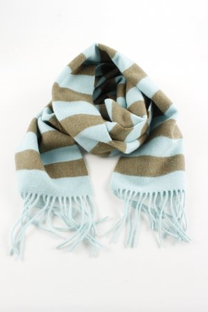 Johnstons Woolen Scarf turquoise-brown striped pattern casual look