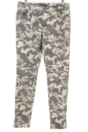 Jones Pantalone a vita bassa crema-grigio-verde stampa integrale stile militare