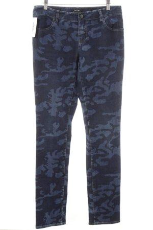 Jones Pantalone a vita bassa blu scuro stampa integrale stile casual