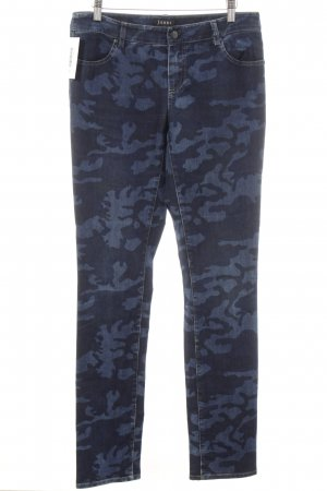 Jones Pantalone a vita bassa blu scuro stampa integrale stile casual