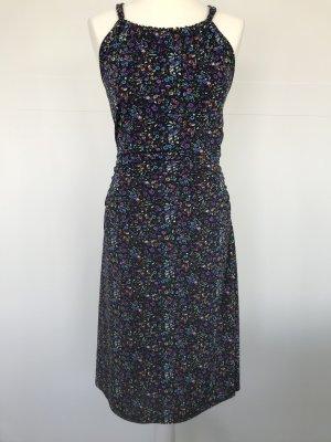 Jones Kleid Neckholder schwarz mit Blümchen-Muster Millefleurs