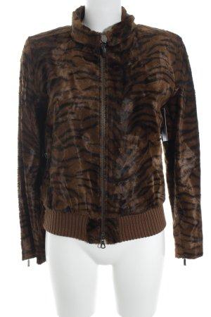 Jones Fake Fur Jacket black-brown animal pattern animal print