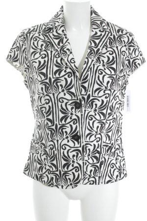 Jones Kurz-Blazer weiß-schwarz florales Muster extravaganter Stil
