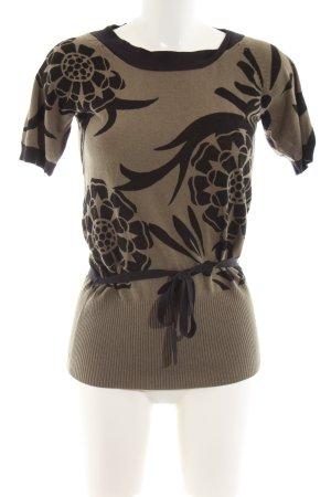 Jones Jersey de manga corta marrón-negro estampado floral look casual