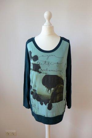 Jones Langarm Shirt Oberteil Top Print grün petrol Gr. 36 S