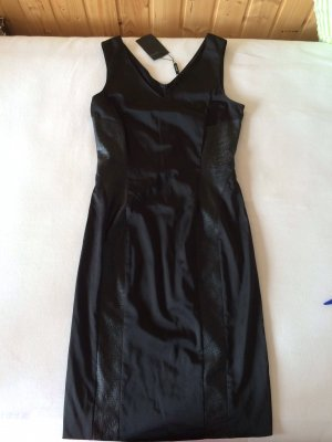 JONES schwarzes knielanges Satin/Leder Kleid, Gr. 34