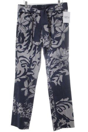 Jones Stoffhose graublau-blassblau florales Muster extravaganter Stil