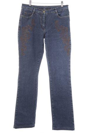 Jones Jeans a gamba dritta blu-cognac stile casual