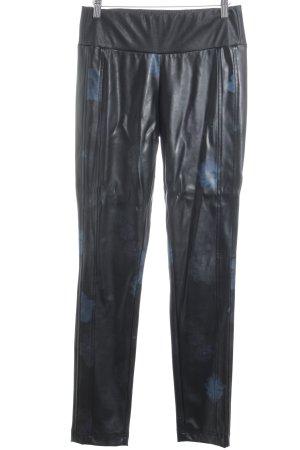 Jones Pantalon strech noir motif de fleur style décontracté