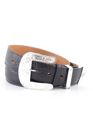 Jony Lama Cinturón de cuero negro-color plata estampado floral