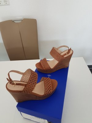 Joop! Wedge Sandals brown-cognac-coloured leather