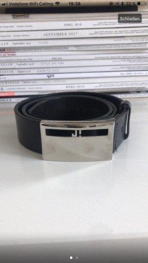 Joop! Cintura di pelle nero-argento