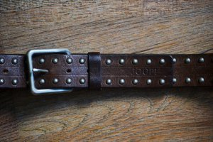 Joop! Leather Belt silver-colored-dark brown leather