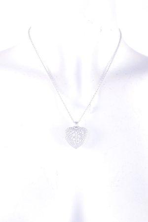 Joop! Halskette silberfarben Herzmuster Glitzer-Optik