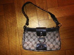 Joop! Handtasche mit braunem Leder und Joop-Stoffmuster