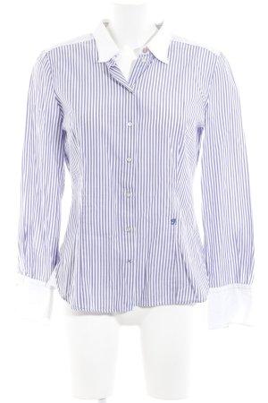 Joop! Hemd-Bluse weiß-lila Streifenmuster Casual-Look