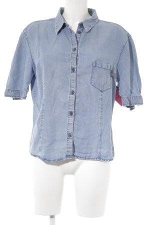 Joop! Jeans Chemise à manches courtes bleu azur style simple