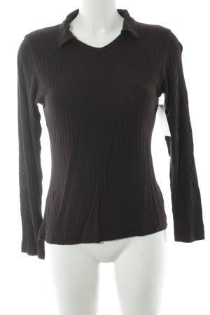 Joop! Jeans V-Ausschnitt-Pullover dunkelbraun Streifenmuster schlichter Stil