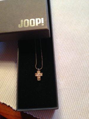 Joop-Kreuz mit Kette in Silber mit Steinchen