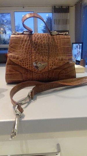 JOOP Leder Handtasche, Umhängetasche, Schulterschluss, Kroko, Cognac