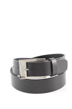 Joop! Cinturón de cuero negro-color oro estilo «business»