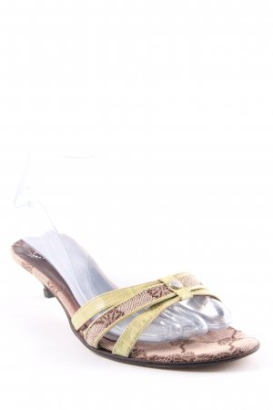 Joop! Strapped High-Heeled Sandals lime yellow-grey brown vintage look