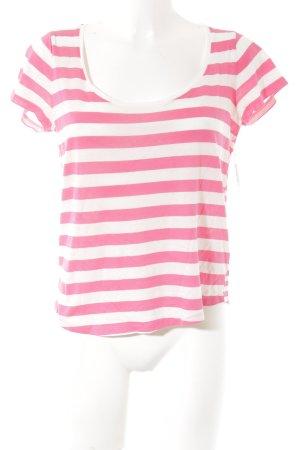 Joop! Ringelshirt weiß-pink Streifenmuster Casual-Look