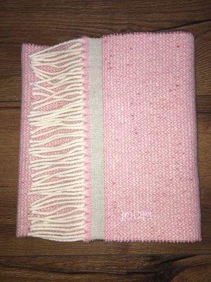 JOOP! Schal Joop rosa beige wollweiß Wolle Fransenschal