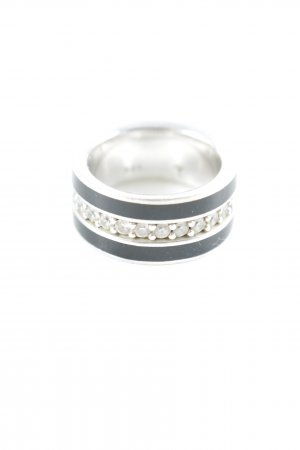 Joop! Silberring schwarz-silberfarben Streifenmuster Elegant