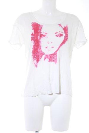 Joop! T-Shirt weiß-himbeerrot platzierter Druck Casual-Look