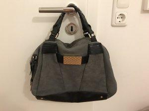 Joop! Tasche Handtasche grau Wildleder schwarz Gold