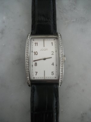 JOOP! Uhr - Silber, Ziffernblatt weiß, Armband schwarz Leder - NEU