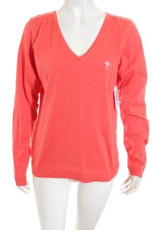 Joop! V-Ausschnitt-Pullover lachs-weiß Casual-Look
