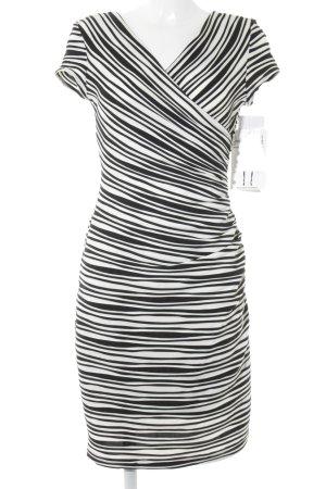 Joseph Ribkoff Vestido elástico negro-blanco estampado a rayas elegante