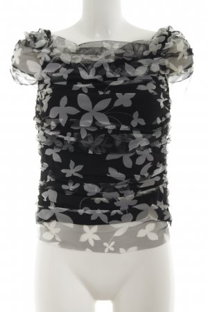 Joseph Ribkoff Boatneck Shirt black-light grey allover print casual look
