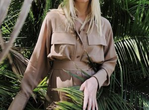 """Joseph """"Warren"""" Seidenkleid Safari Dress in Beige Seide Kleid mit aufgesetzten Taschen und Gürtel"""