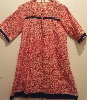 Tunic Dress blue-brick red cotton
