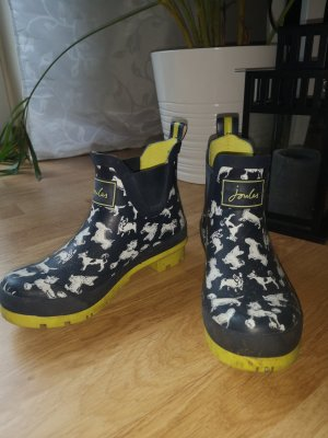 Joules Short Boots lime yellow-dark blue