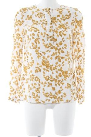 Joules Langarm-Bluse weiß-sandbraun florales Muster Casual-Look