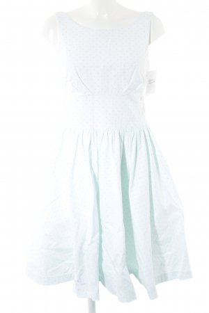 Joules schulterfreies Kleid türkis-rosa Punktemuster 50ies-Stil