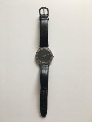 Montre avec bracelet en cuir noir-gris cuir