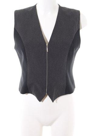 Joy Gilet de costume noir-gris clair motif rayé style d'affaires