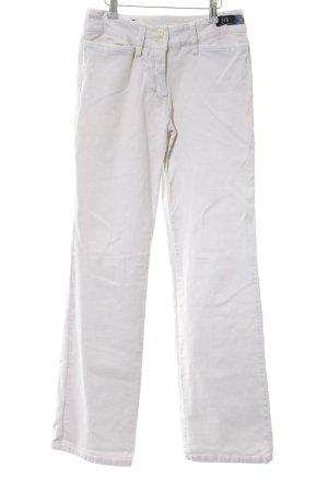 Joy Pantalone di velluto a coste bianco stile casual