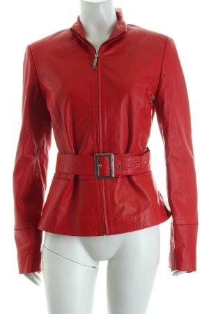 Joy Lederjacke rot schlichter Stil