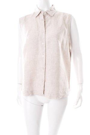 Joy Blusa de lino beige claro moteado estilo sencillo