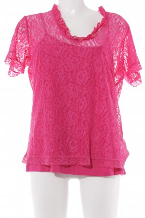 Judith Williams Spitzenbluse magenta Casual-Look
